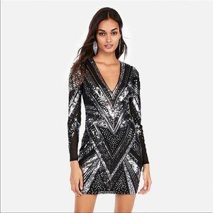 Express Art Deco sequin mini dress w/ long sleeve
